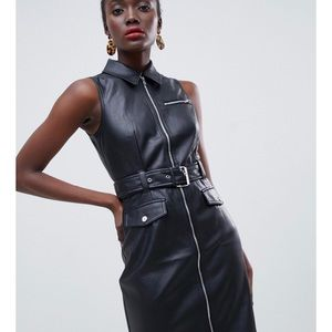 Warehouse Faux Leather belted black mini dress